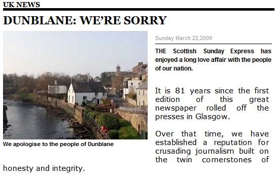 Scottish Express Dunblane apology